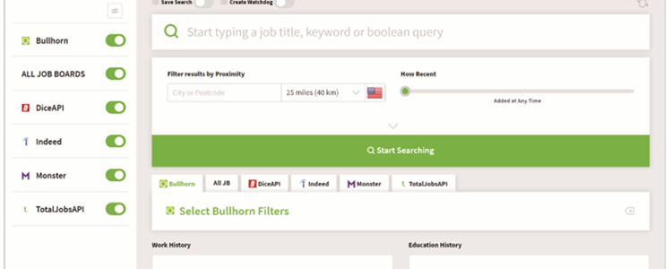 Daxtra Search UI, automated recruiting software